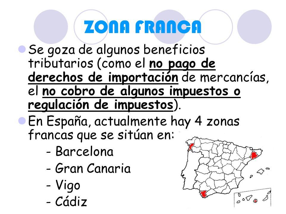 ZONA FRANCA Se goza de algunos beneficios tributarios (como el no pago de derechos de importación de mercancías, el no cobro de algunos impuestos o re