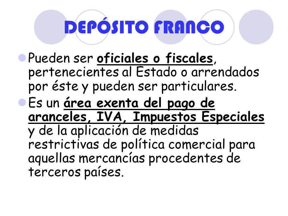 DEPÓSITO FRANCO Pueden ser oficiales o fiscales, pertenecientes al Estado o arrendados por éste y pueden ser particulares. Es un área exenta del pago
