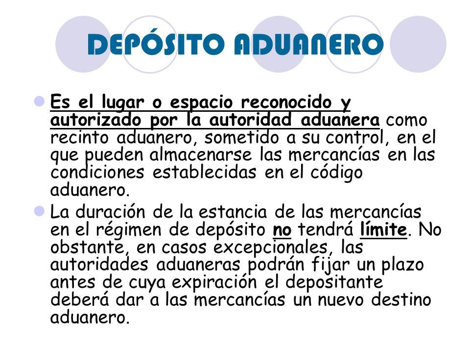 DEPÓSITO ADUANERO Es el lugar o espacio reconocido y autorizado por la autoridad aduanera como recinto aduanero, sometido a su control, en el que pued