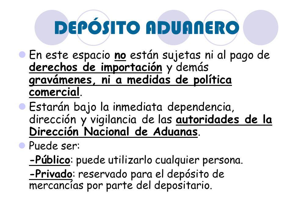 DEPÓSITO ADUANERO Tipos: -TIPO A: Depósito público que puede utilizar cualquier persona autorizada para depositar mercancías bajo responsabilidad del depositario.