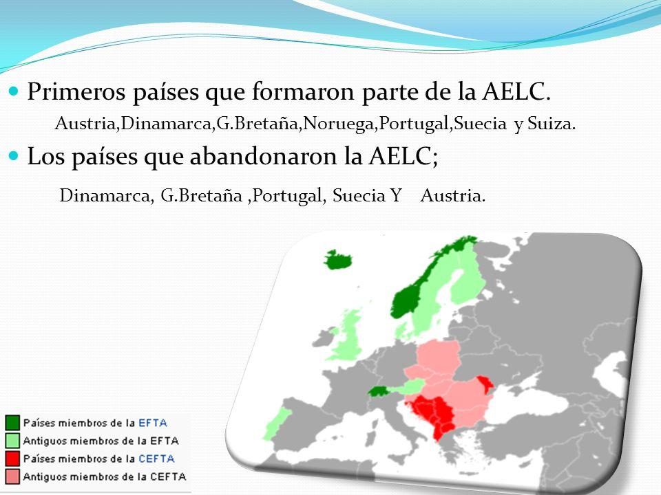 Primeros países que formaron parte de la AELC. Austria,Dinamarca,G.Bretaña,Noruega,Portugal,Suecia y Suiza. Los países que abandonaron la AELC; Dinama
