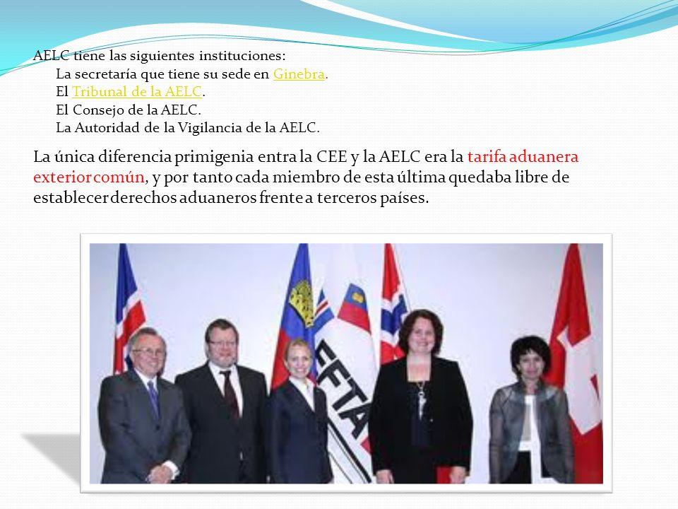 AELC tiene las siguientes instituciones: La secretaría que tiene su sede en Ginebra.Ginebra El Tribunal de la AELC.Tribunal de la AELC El Consejo de l