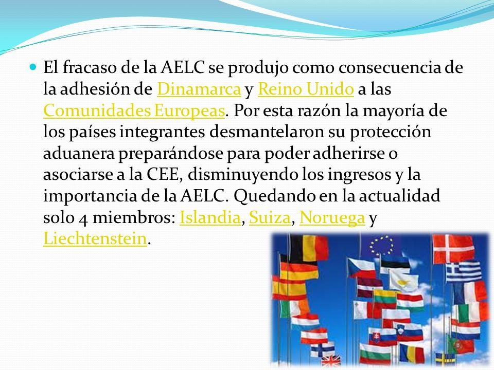 El fracaso de la AELC se produjo como consecuencia de la adhesión de Dinamarca y Reino Unido a las Comunidades Europeas. Por esta razón la mayoría de