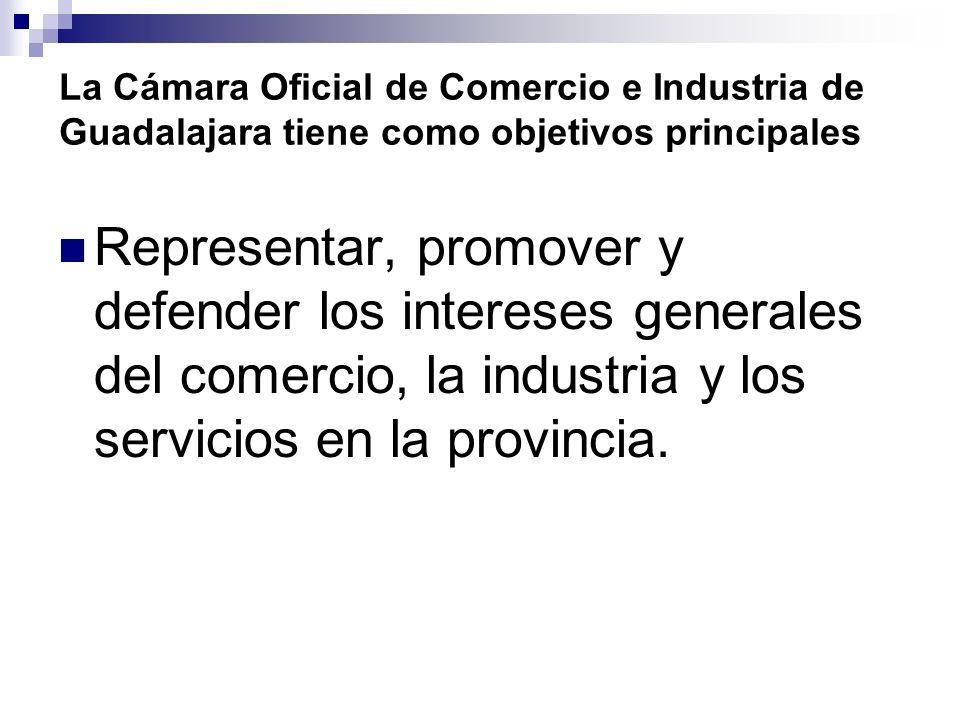 La Cámara Oficial de Comercio e Industria de Guadalajara tiene como objetivos principales Representar, promover y defender los intereses generales del comercio, la industria y los servicios en la provincia.