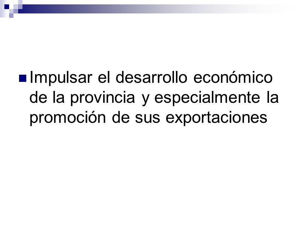 Impulsar el desarrollo económico de la provincia y especialmente la promoción de sus exportaciones