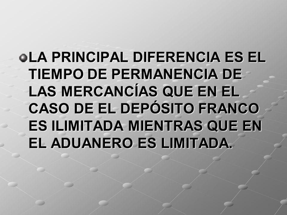 LA PRINCIPAL DIFERENCIA ES EL TIEMPO DE PERMANENCIA DE LAS MERCANCÍAS QUE EN EL CASO DE EL DEPÓSITO FRANCO ES ILIMITADA MIENTRAS QUE EN EL ADUANERO ES