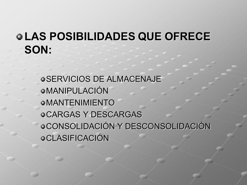 LAS POSIBILIDADES QUE OFRECE SON: SERVICIOS DE ALMACENAJE MANIPULACIÓNMANTENIMIENTO CARGAS Y DESCARGAS CONSOLIDACIÓN Y DESCONSOLIDACIÓN CLASIFICACIÓN