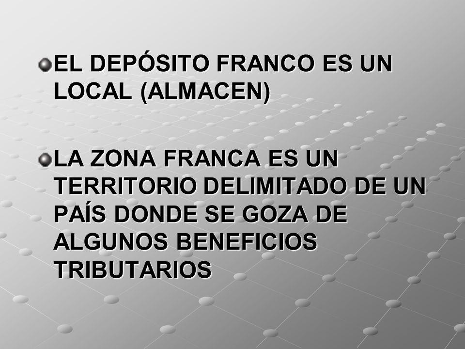 EL DEPÓSITO FRANCO ES UN LOCAL (ALMACEN) LA ZONA FRANCA ES UN TERRITORIO DELIMITADO DE UN PAÍS DONDE SE GOZA DE ALGUNOS BENEFICIOS TRIBUTARIOS