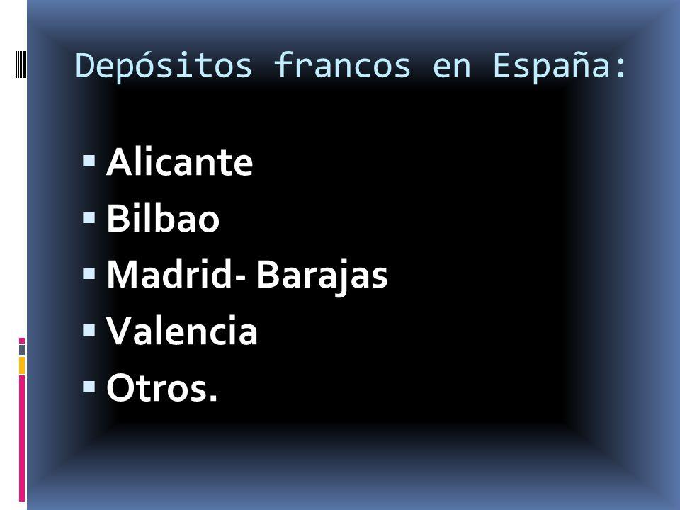 Depósitos francos en España: Alicante Bilbao Madrid- Barajas Valencia Otros.