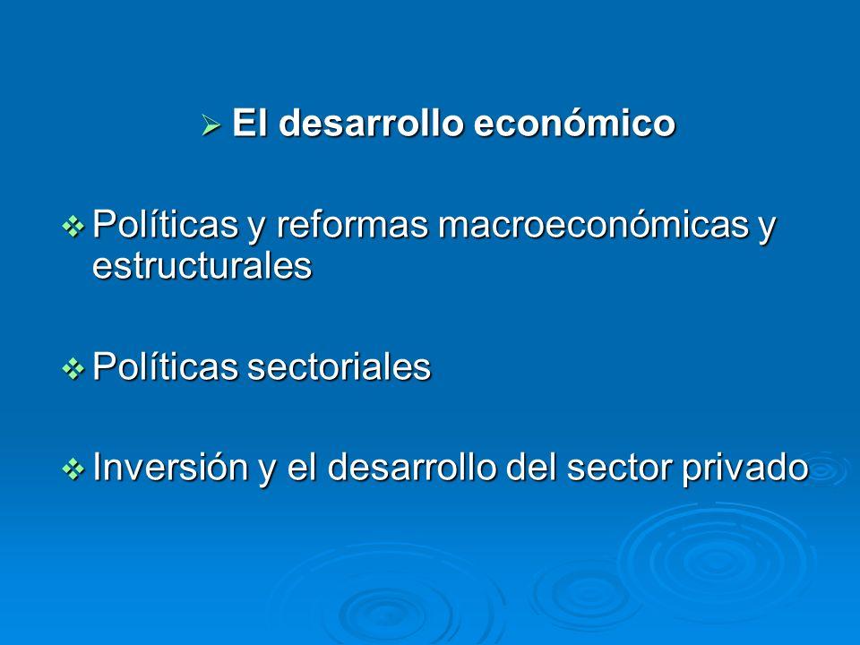El desarrollo económico El desarrollo económico Políticas y reformas macroeconómicas y estructurales Políticas y reformas macroeconómicas y estructura