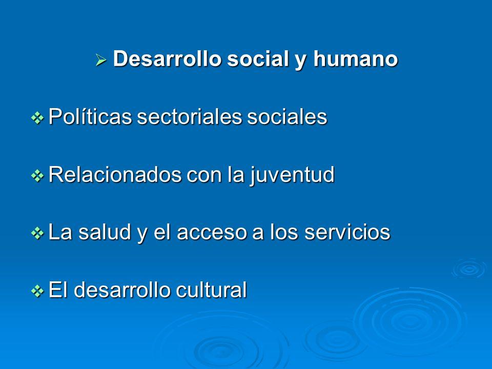 Desarrollo social y humano Desarrollo social y humano Políticas sectoriales sociales Políticas sectoriales sociales Relacionados con la juventud Relac