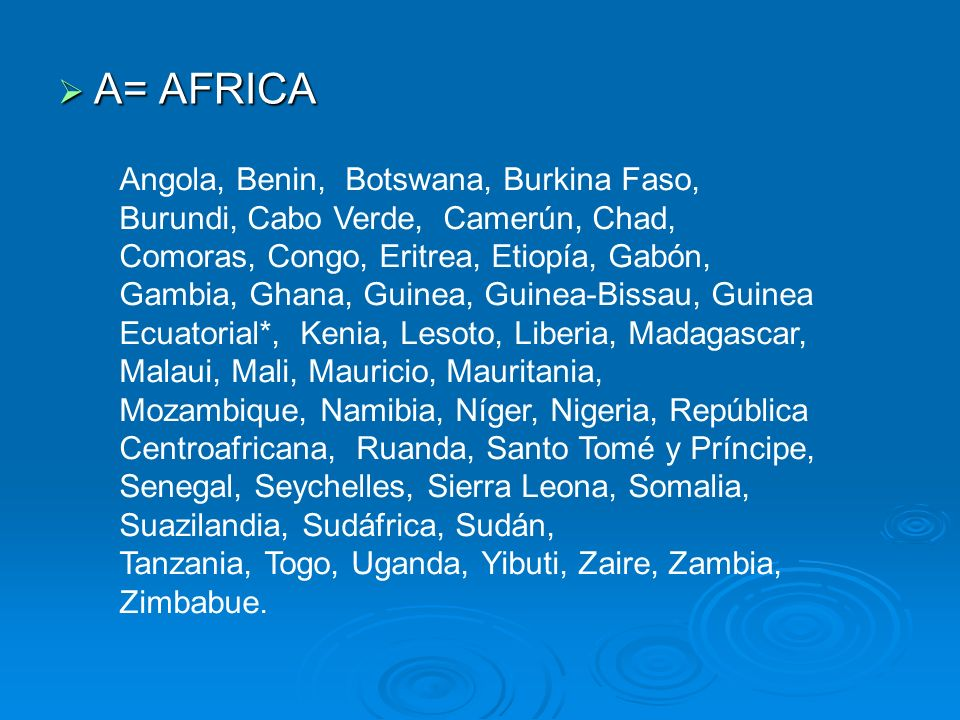C= CARIBE C= CARIBE Antigua y Barbuda, Bahamas, Barbados, Belice, Cuba, Dominica, Granada, Guyana, Haití, Jamaica, República Dominicana, San Kitts e Nevis, San Vicente y Las Granadinas, Santa Lucía, Suriname, Trinidad y Tobago.