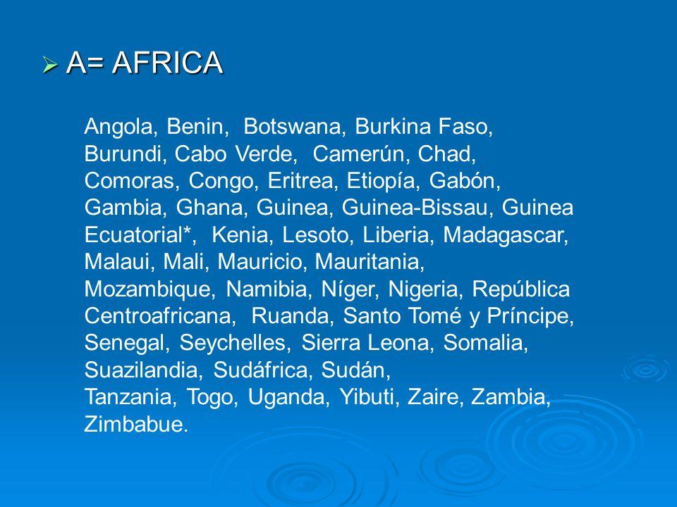 A= AFRICA A= AFRICA Angola, Benin, Botswana, Burkina Faso, Burundi, Cabo Verde, Camerún, Chad, Comoras, Congo, Eritrea, Etiopía, Gabón, Gambia, Ghana,