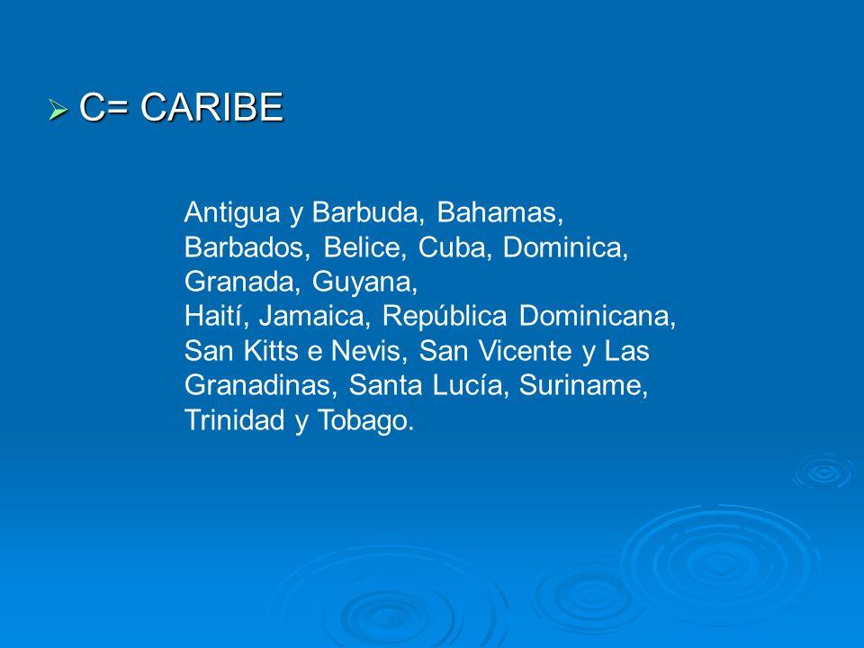 C= CARIBE C= CARIBE Antigua y Barbuda, Bahamas, Barbados, Belice, Cuba, Dominica, Granada, Guyana, Haití, Jamaica, República Dominicana, San Kitts e N