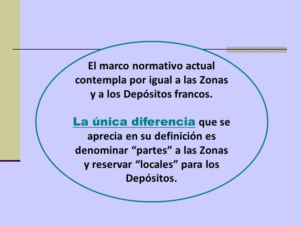 El marco normativo actual contempla por igual a las Zonas y a los Depósitos francos. La única diferencia que se aprecia en su definición es denominar
