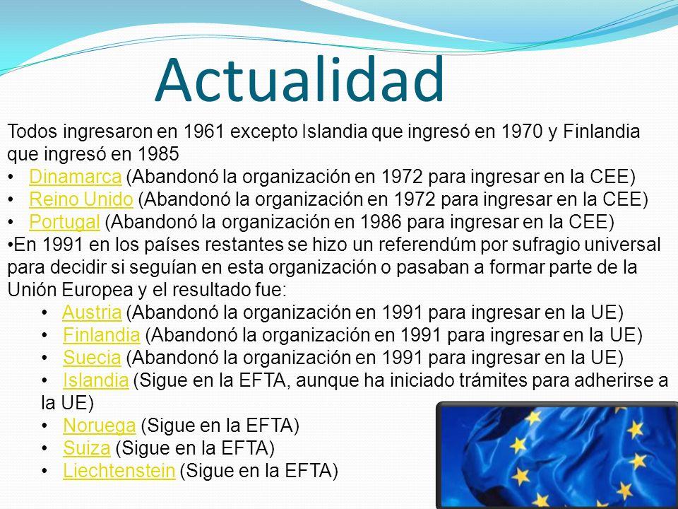 Actualidad Todos ingresaron en 1961 excepto Islandia que ingresó en 1970 y Finlandia que ingresó en 1985 Dinamarca (Abandonó la organización en 1972 para ingresar en la CEE)Dinamarca Reino Unido (Abandonó la organización en 1972 para ingresar en la CEE)Reino Unido Portugal (Abandonó la organización en 1986 para ingresar en la CEE)Portugal En 1991 en los países restantes se hizo un referendúm por sufragio universal para decidir si seguían en esta organización o pasaban a formar parte de la Unión Europea y el resultado fue: Austria (Abandonó la organización en 1991 para ingresar en la UE)Austria Finlandia (Abandonó la organización en 1991 para ingresar en la UE)Finlandia Suecia (Abandonó la organización en 1991 para ingresar en la UE)Suecia Islandia (Sigue en la EFTA, aunque ha iniciado trámites para adherirse a la UE)Islandia Noruega (Sigue en la EFTA)Noruega Suiza (Sigue en la EFTA)Suiza Liechtenstein (Sigue en la EFTA)Liechtenstein