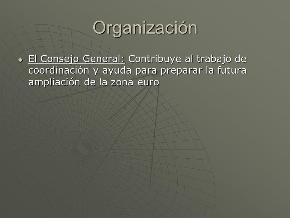 Organización El Consejo General: Contribuye al trabajo de coordinación y ayuda para preparar la futura ampliación de la zona euro El Consejo General: