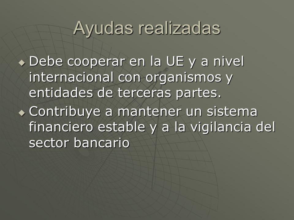 Ayudas realizadas Debe cooperar en la UE y a nivel internacional con organismos y entidades de terceras partes. Debe cooperar en la UE y a nivel inter