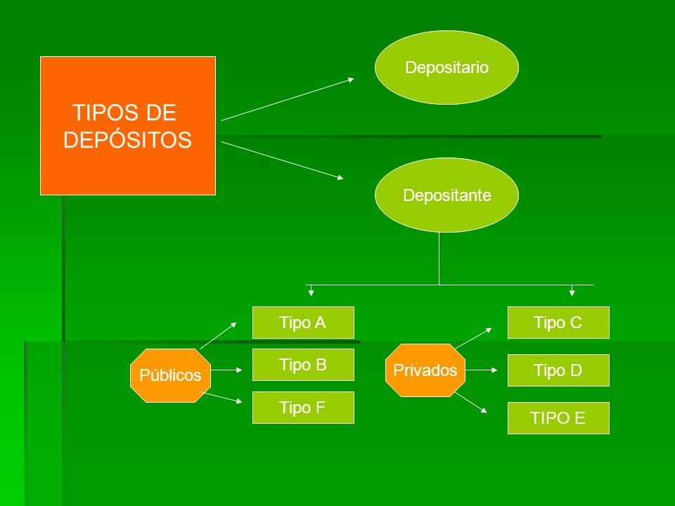 TIPOS DE DEPÓSITOS Depositario Depositante Tipo A Tipo B Tipo D Tipo C TIPO E Tipo F Públicos Privados