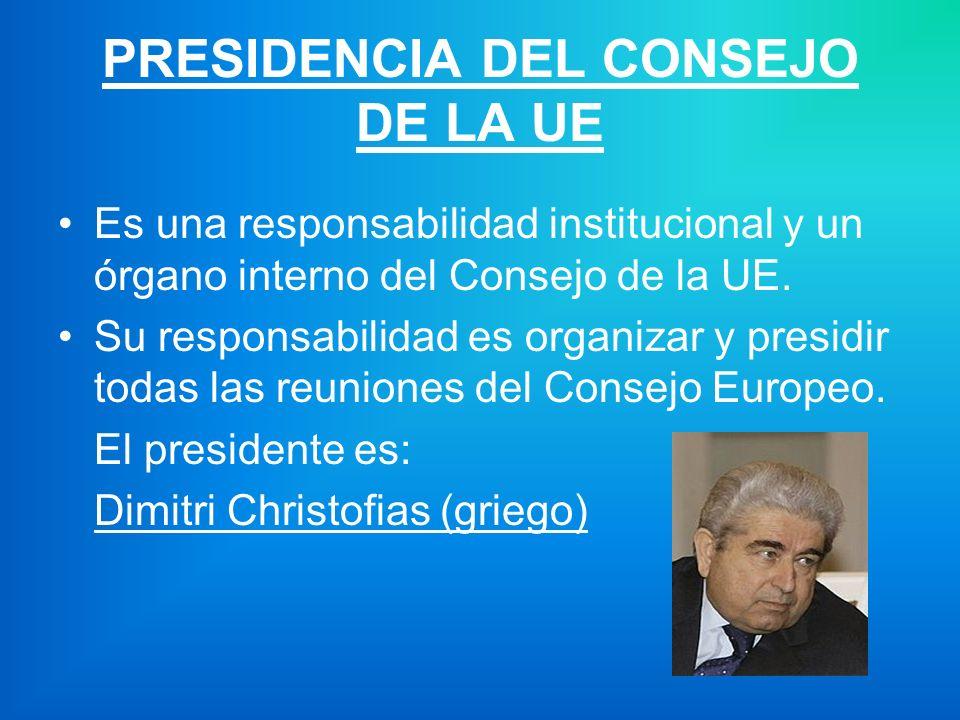 PRESIDENCIA DEL CONSEJO DE LA UE Es una responsabilidad institucional y un órgano interno del Consejo de la UE.