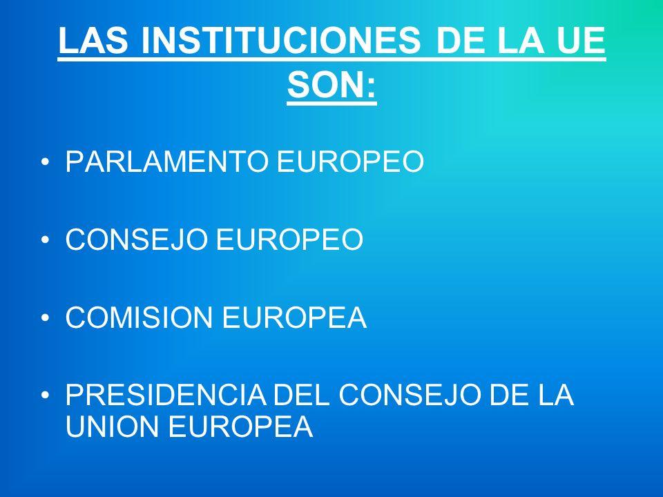 LAS INSTITUCIONES DE LA UE SON: PARLAMENTO EUROPEO CONSEJO EUROPEO COMISION EUROPEA PRESIDENCIA DEL CONSEJO DE LA UNION EUROPEA