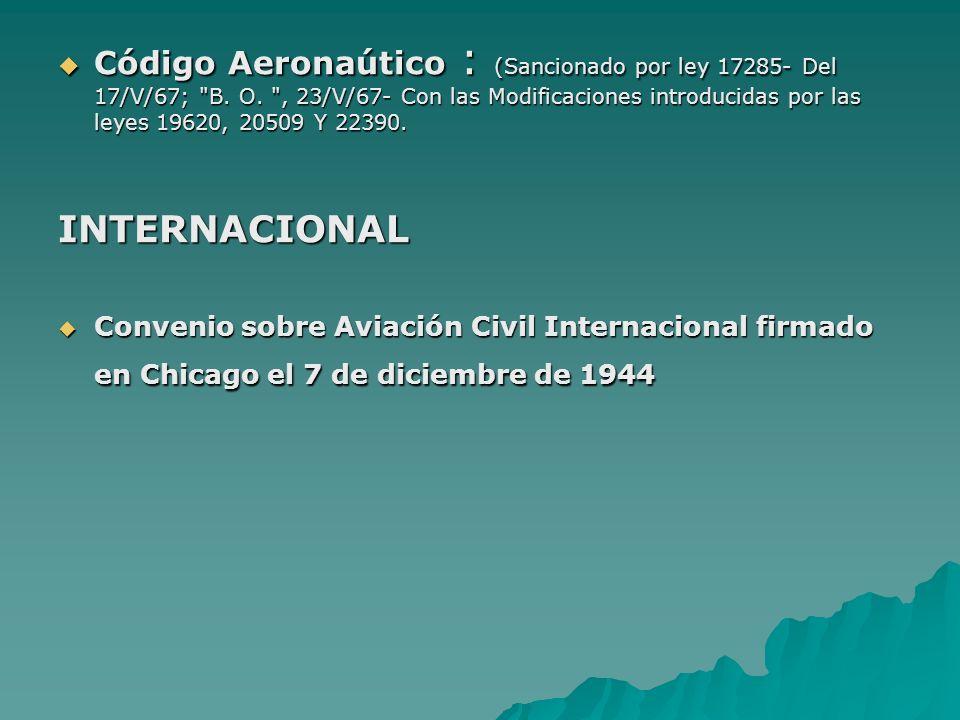 Código Aeronaútico : (Sancionado por ley 17285- Del 17/V/67;