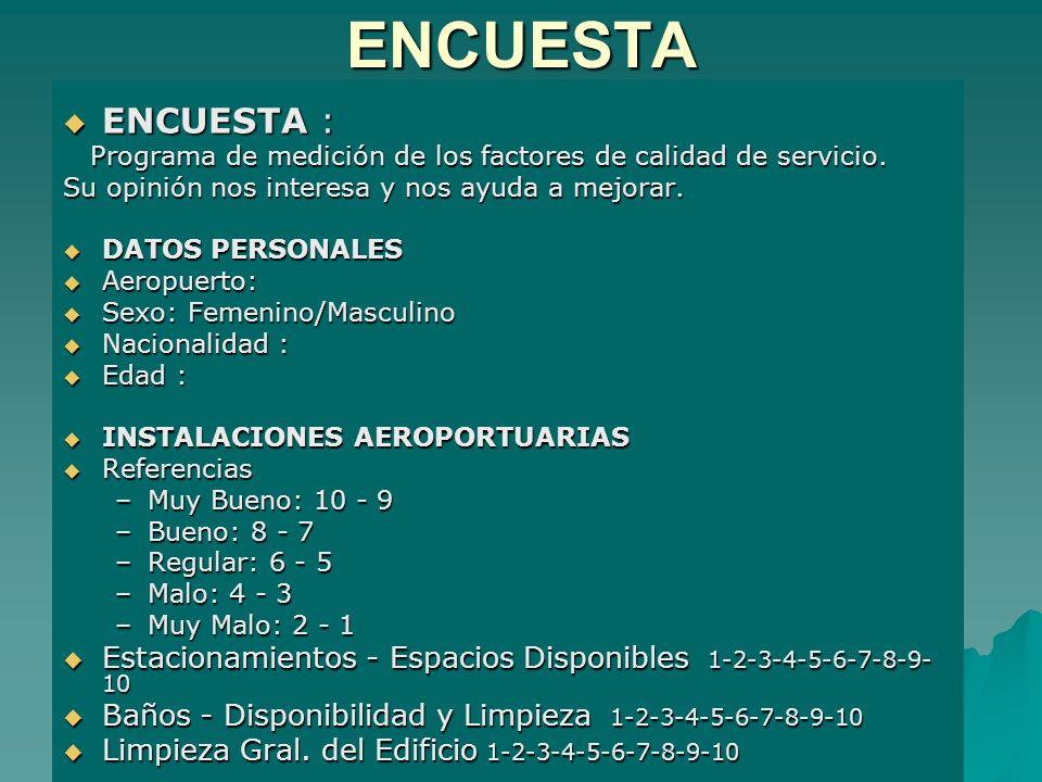 ENCUESTA ENCUESTA : ENCUESTA : Programa de medición de los factores de calidad de servicio. Programa de medición de los factores de calidad de servici