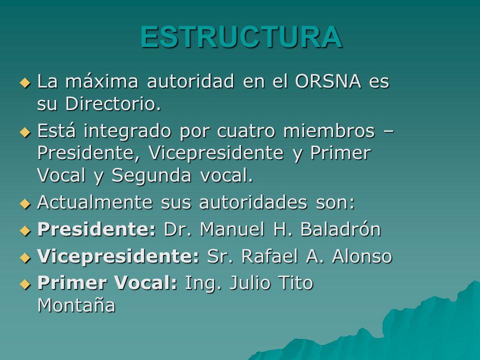 ESTRUCTURA La máxima autoridad en el ORSNA es su Directorio. La máxima autoridad en el ORSNA es su Directorio. Está integrado por cuatro miembros – Pr