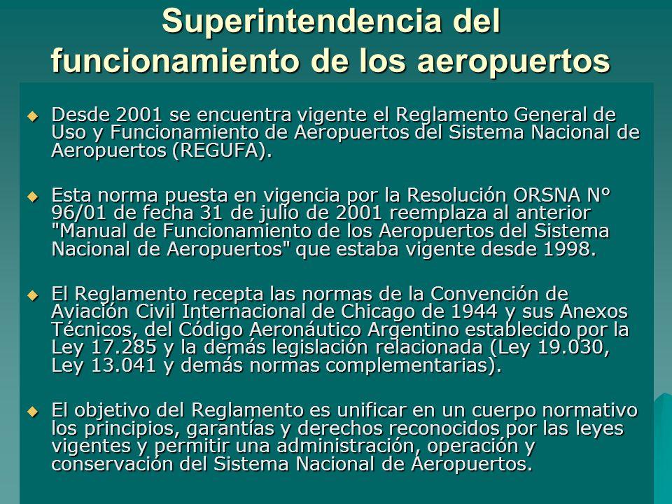 Superintendencia del funcionamiento de los aeropuertos Desde 2001 se encuentra vigente el Reglamento General de Uso y Funcionamiento de Aeropuertos de