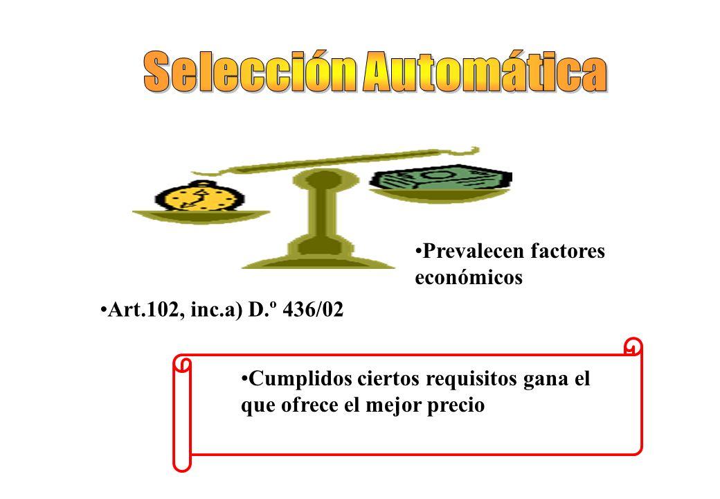 Se analiza precio y calidad de los oferentes en un solo acto Contrataciones complejas Dos o más fases evaluatorias Preselecciones sucesivas Solo se ab