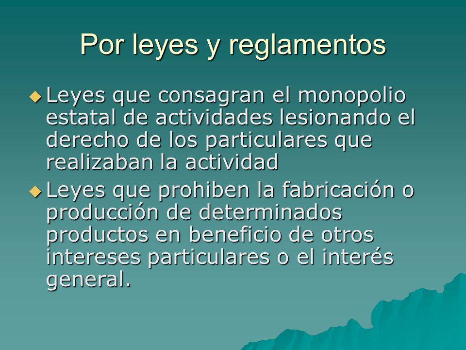 Por leyes y reglamentos Leyes que consagran el monopolio estatal de actividades lesionando el derecho de los particulares que realizaban la actividad