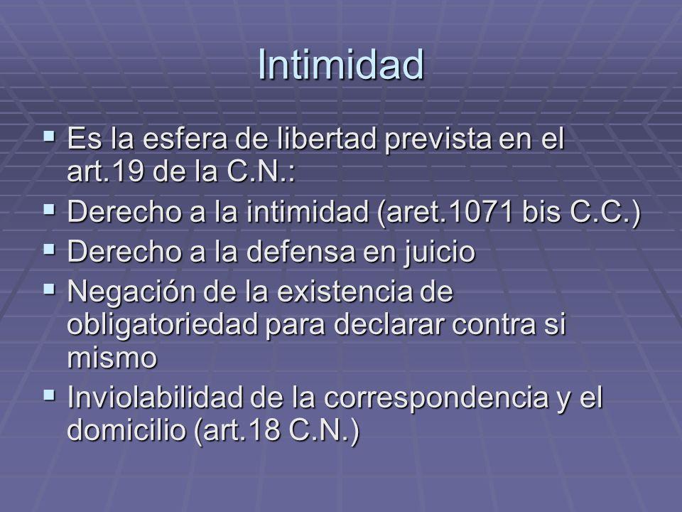 Intimidad Es la esfera de libertad prevista en el art.19 de la C.N.: Es la esfera de libertad prevista en el art.19 de la C.N.: Derecho a la intimidad
