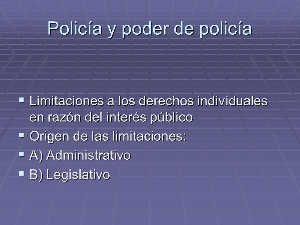 Policía y poder de policía Limitaciones a los derechos individuales en razón del interés público Limitaciones a los derechos individuales en razón del