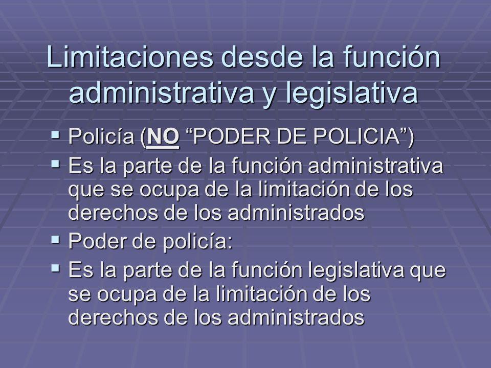 Limitaciones desde la función administrativa y legislativa Policía (NO PODER DE POLICIA) Policía (NO PODER DE POLICIA) Es la parte de la función admin