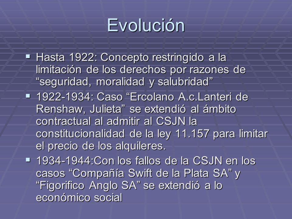 Evolución Hasta 1922: Concepto restringido a la limitación de los derechos por razones de seguridad, moralidad y salubridad Hasta 1922: Concepto restr