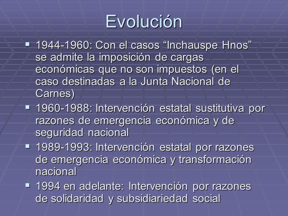 Evolución 1944-1960: Con el casos Inchauspe Hnos se admite la imposición de cargas económicas que no son impuestos (en el caso destinadas a la Junta N