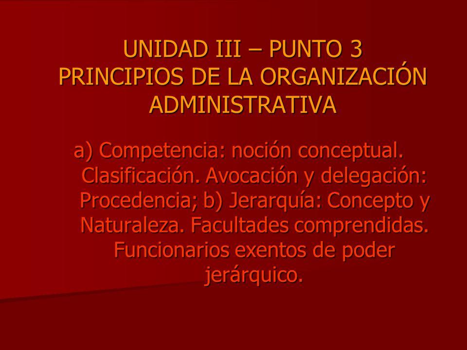 UNIDAD III – PUNTO 3 PRINCIPIOS DE LA ORGANIZACIÓN ADMINISTRATIVA a) Competencia: noción conceptual. Clasificación. Avocación y delegación: Procedenci