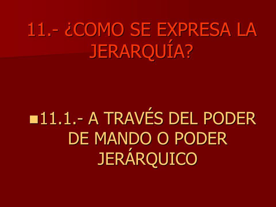 11.- ¿COMO SE EXPRESA LA JERARQUÍA? 11.1.- A TRAVÉS DEL PODER DE MANDO O PODER JERÁRQUICO 11.1.- A TRAVÉS DEL PODER DE MANDO O PODER JERÁRQUICO