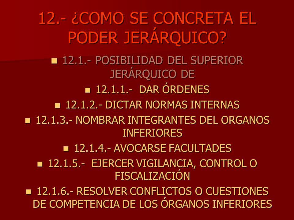 12.- ¿COMO SE CONCRETA EL PODER JERÁRQUICO? 12.1.- POSIBILIDAD DEL SUPERIOR JERÁRQUICO DE 12.1.- POSIBILIDAD DEL SUPERIOR JERÁRQUICO DE 12.1.1.- DAR Ó