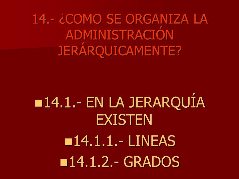 14.- ¿COMO SE ORGANIZA LA ADMINISTRACIÓN JERÁRQUICAMENTE? 14.1.- EN LA JERARQUÍA EXISTEN 14.1.- EN LA JERARQUÍA EXISTEN 14.1.1.- LINEAS 14.1.1.- LINEA