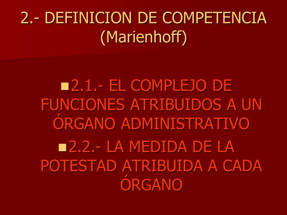 2.- DEFINICION DE COMPETENCIA (Marienhoff) 2.1.- EL COMPLEJO DE FUNCIONES ATRIBUIDOS A UN ÓRGANO ADMINISTRATIVO 2.1.- EL COMPLEJO DE FUNCIONES ATRIBUI