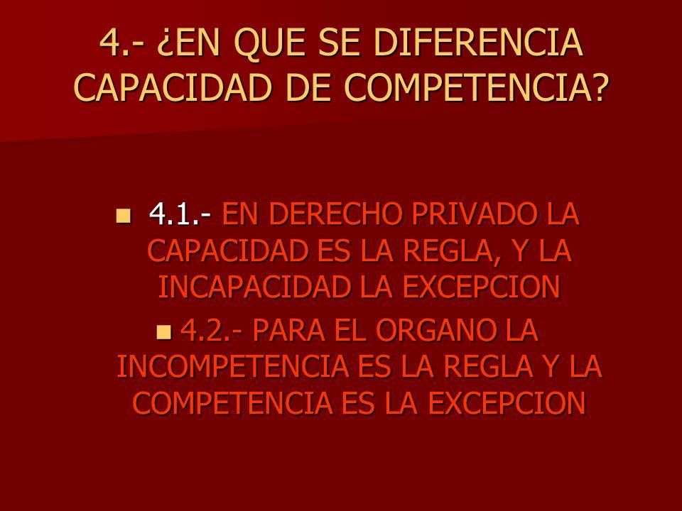 4.- ¿EN QUE SE DIFERENCIA CAPACIDAD DE COMPETENCIA? 4.1.- EN DERECHO PRIVADO LA CAPACIDAD ES LA REGLA, Y LA INCAPACIDAD LA EXCEPCION 4.1.- EN DERECHO