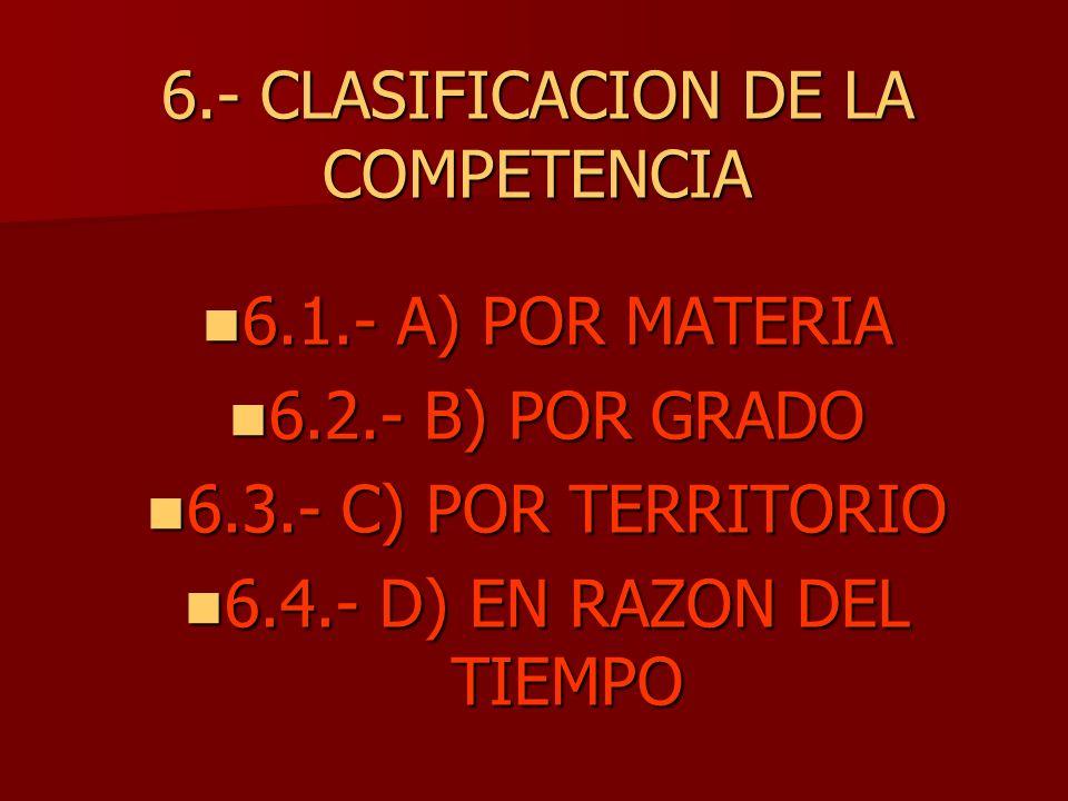 6.- CLASIFICACION DE LA COMPETENCIA 6.1.- A) POR MATERIA 6.1.- A) POR MATERIA 6.2.- B) POR GRADO 6.2.- B) POR GRADO 6.3.- C) POR TERRITORIO 6.3.- C) P