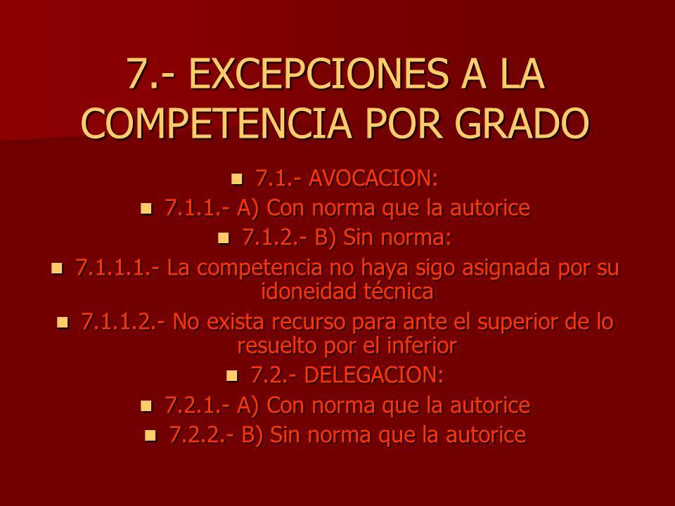 7.- EXCEPCIONES A LA COMPETENCIA POR GRADO 7.1.- AVOCACION: 7.1.- AVOCACION: 7.1.1.- A) Con norma que la autorice 7.1.1.- A) Con norma que la autorice