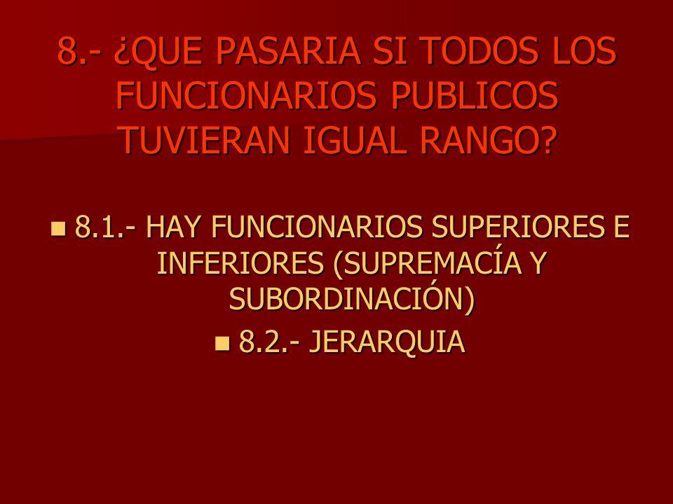 8.- ¿QUE PASARIA SI TODOS LOS FUNCIONARIOS PUBLICOS TUVIERAN IGUAL RANGO? 8.1.- HAY FUNCIONARIOS SUPERIORES E INFERIORES (SUPREMACÍA Y SUBORDINACIÓN)