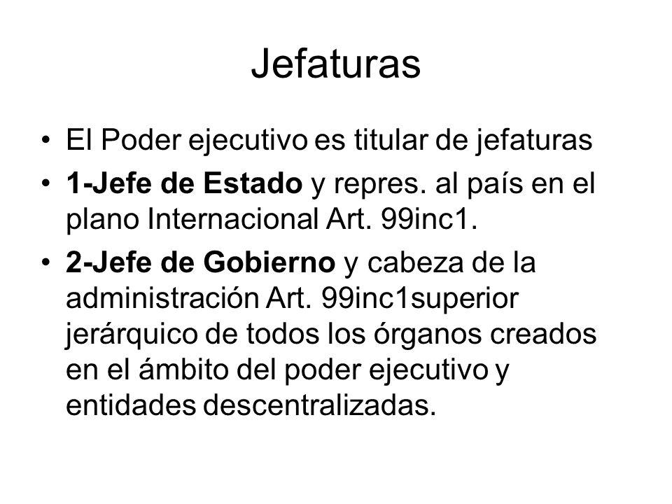 Jefaturas El Poder ejecutivo es titular de jefaturas 1-Jefe de Estado y repres. al país en el plano Internacional Art. 99inc1. 2-Jefe de Gobierno y ca