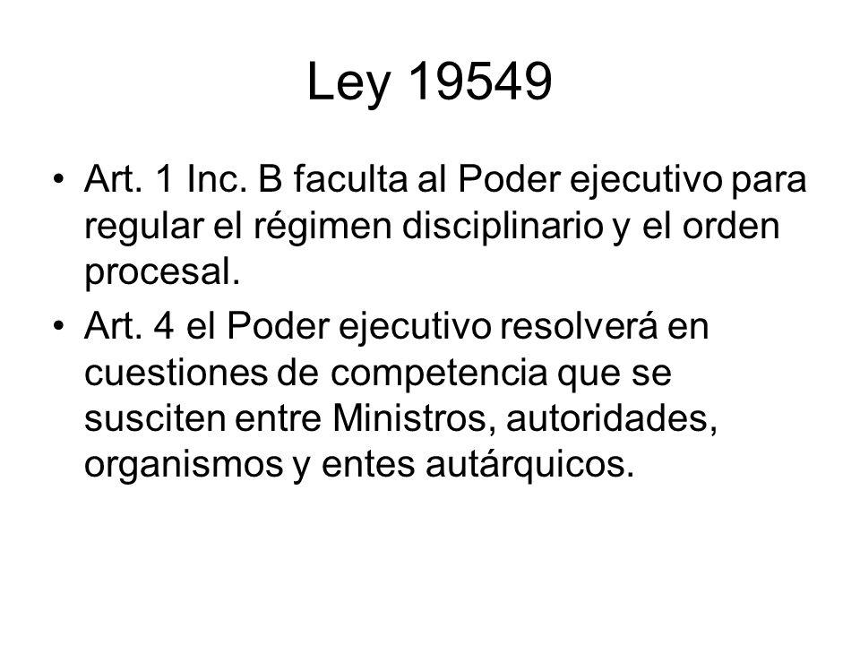 Art. 1 Inc. B faculta al Poder ejecutivo para regular el régimen disciplinario y el orden procesal. Art. 4 el Poder ejecutivo resolverá en cuestiones