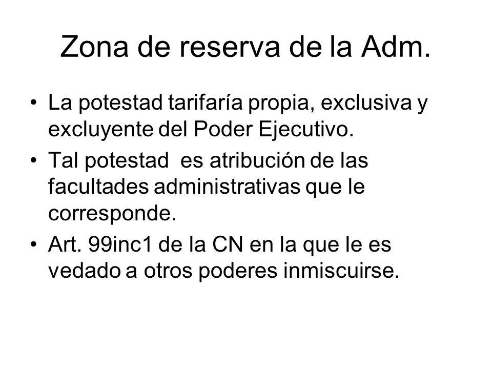Zona de reserva de la Adm. La potestad tarifaría propia, exclusiva y excluyente del Poder Ejecutivo. Tal potestad es atribución de las facultades admi