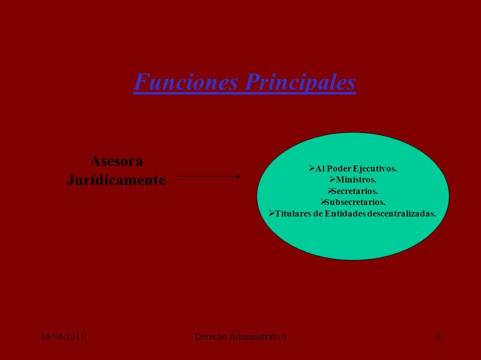 08/06/2011Derecho Administrativo8 Funciones Principales Asesora Jurídicamente Al Poder Ejecutivos.