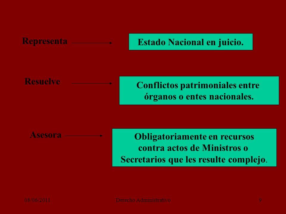 08/06/2011Derecho Administrativo9 Representa Resuelve Estado Nacional en juicio.